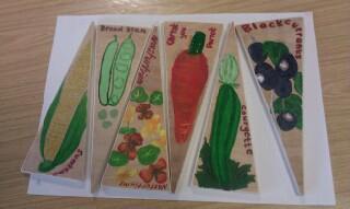Student made vegetable labels